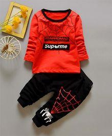 Funtoosh Kidswear Web Print T-Shirt & Bottom Set - Red
