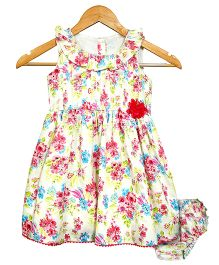 Bella Moda Gorgeous Floral Print Dress With Bloomer - Yellow & Multicolour