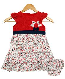 Bella Moda Birdy Print Dress With Bloomer - Red & Multicolour