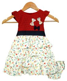 Bella Moda Floral Print Dress & Bloomer Set - Red & Light Yellow