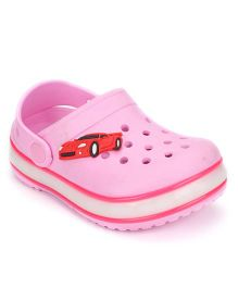 Little Maira Car Applique Stylish LED Clogs - Pink