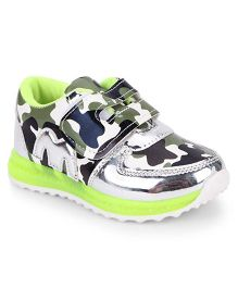 Little Maira Camouflage LED Velcro Shoes - Green