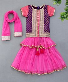 Sorbet Lehenga Choli Set With Gota Lace Border - Pink