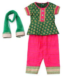 Sorbet Kurta With Salwar & Dupatta Set - Green & Pink