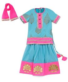 Sorbet Lehenga Kurta Set With Embroidered Border - Sea Green & Pink