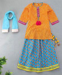 Sorbet Lehriya Kurta With Lehenga & Choli Set - Orange & Blue