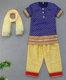 Sorbet Brocade Kurta And Salwar Dupatta Set - Blue & Biege