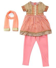 Sorbet Embroidered Suit With Churidar & Dupatta Set - Peach