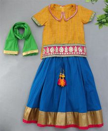 Sorbet Gota Embroidered Top With Crinkled Lehenga & Dupatta Set - Yellow & Blue