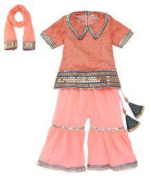Sorbet Gota Lace Work Choli Salwar & Dupatta Set - Peach