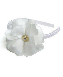 Pink Velvetz Flower Hairband - White