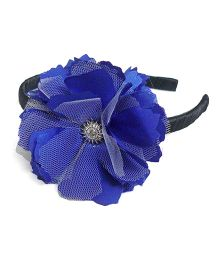 Pink Velvetz Flower Hairband - Navy Blue