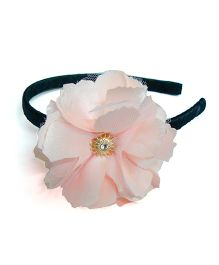 Pink Velvetz Flower Hairband - Peach