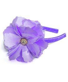 Pink Velvetz Flower Hairband - Purple