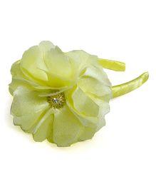 Pink Velvetz Flower Hairband - Yellow