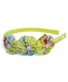 Pink Velvetz Floral Hairband - Yellow