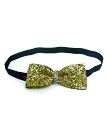 Pink Velvetz Blingy Bow Headband - Golden