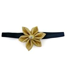 Pink Velvetz Glittery Flower Headband - Golden