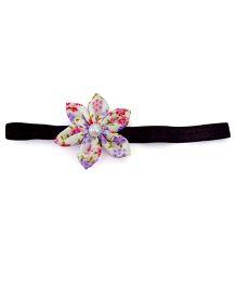 Pink Velvetz Floral Headband - White