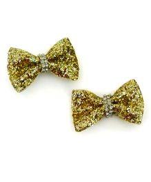 Pink Velvetz Glittery Bow Hair Clip - Golden