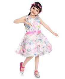 Little Pockets Store Flower Printed Bow Applique Tulle Dress - Multicolour