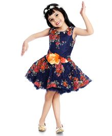 Little Pockets Store Fit & Flare Floral Print Dress - Blue