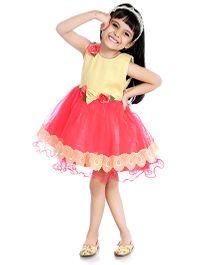 Little Pockets Store Lace & Flower Applique Frill Dress - Pink