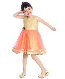 Little Pockets Store Semi Sequenced Frill Dress - Gold