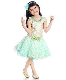 Little Pockets Store Semi Sequenced Drop Waist Dress - Green