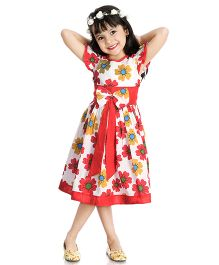Little Pockets Store Flower Printed Bow Attached Summer Dress - Multicolour
