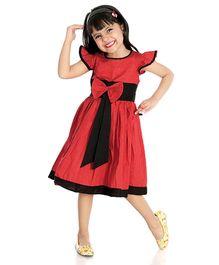 Little Pockets Store Flutter Sleeves Dot Printed Summer Dress - Red