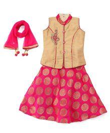 Babyhug Sleeveless Choli Lehenga With Dupatta - Pink & Golden
