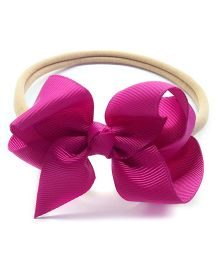 Keira's Pretties Infant Soft Nylon Rubber Band With Boutique Bow - Raspberry Pink