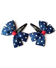 Keira's Pretties Polka Dot Bow Snap Clips - Navy Blue