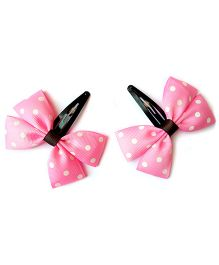 Keira's Pretties Polka Dot Bow Snap Clips - Pink