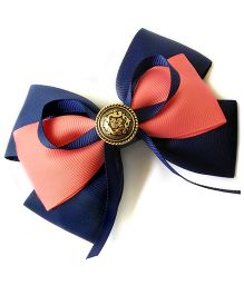 Keira'S Pretties Vintage Style Double Bow Barrette Hair Clip With Button - Navy