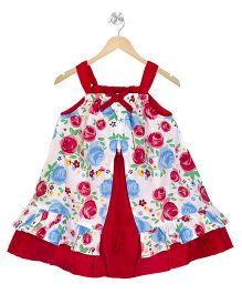 Young Birds Double Layer Floral Dress - Red