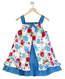 Young Birds Double Layer Floral Dress - Blue