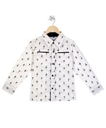 Young Birds Cross Print Shirt - White & Black
