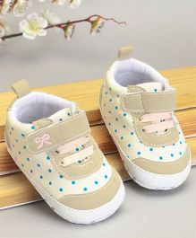 Cute Walk by Babyhug Check Shoes Style Booties - Cream Khaki