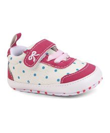 Cute Walk by Babyhug Check Shoes Style Booties - Cream Fuchsia