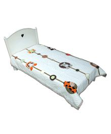 Abracadabra Single Quilt And Bedcover Animal Design - White