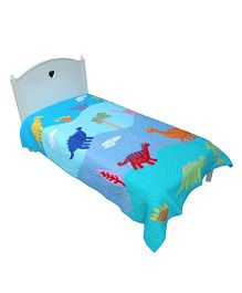 Abracadabra Single Quilt And Bedcover Animal Design - Blue
