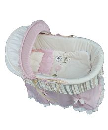 Abracadabra Bassinet Bedding Set With Stand - White And Pink