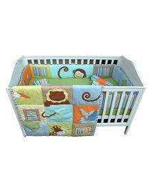 Abracadabra Cot Bedding Set Monkey Design Head &Tail Multi Color - 6 Pieces