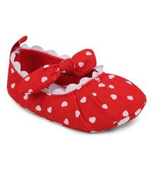 Cute Walk by Babyhug Booties Bow Applique - Red & White