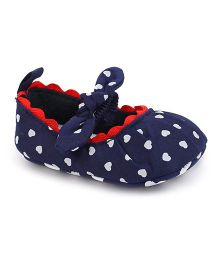 Cute Walk by Babyhug Booties Bow Applique - Navy Blue