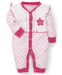 Wonderchild Fullsleeves Romper Star Print - White & Pink