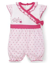Wonderchild Half Sleeves Romper Star Print - White & Pink