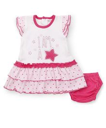 Wonderchild 2 Piece Frock Set - White & Pink
